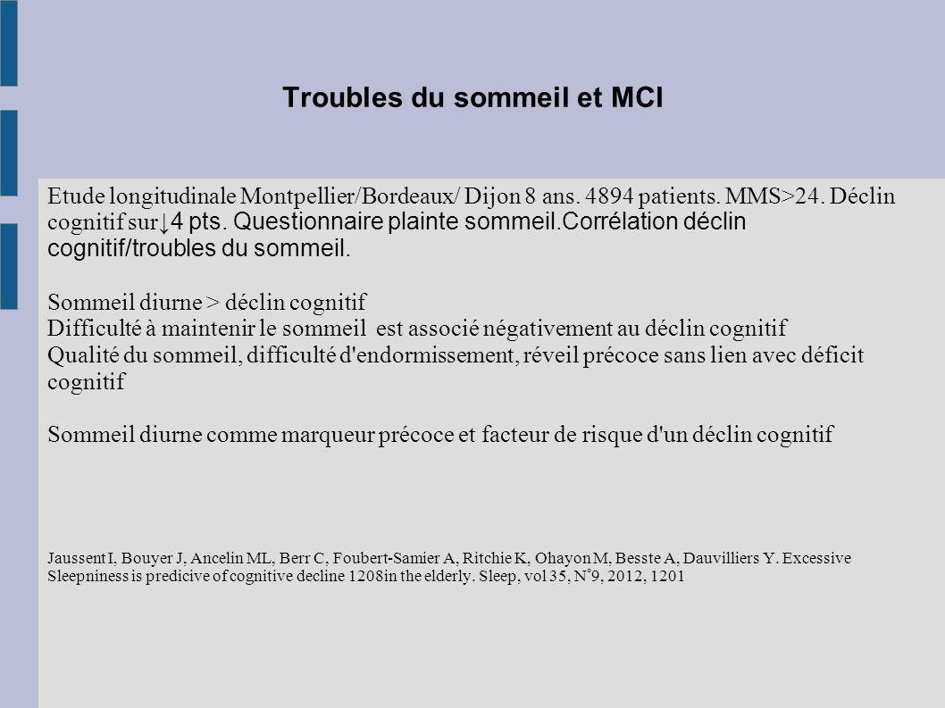 Troubles du sommeil et MCI Etude longitudinale Montpellier/Bordeaux/ Dijon 8 ans. 4894 patients. MMS>24. Déclin cognitif sur ↓4 pts. Questionnaire pla