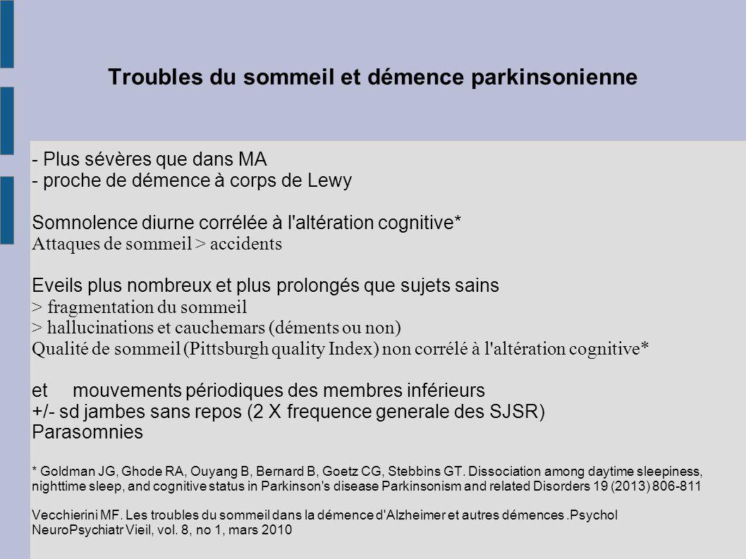 Troubles du sommeil et démence parkinsonienne - Plus sévères que dans MA - proche de démence à corps de Lewy Somnolence diurne corrélée à l'altération