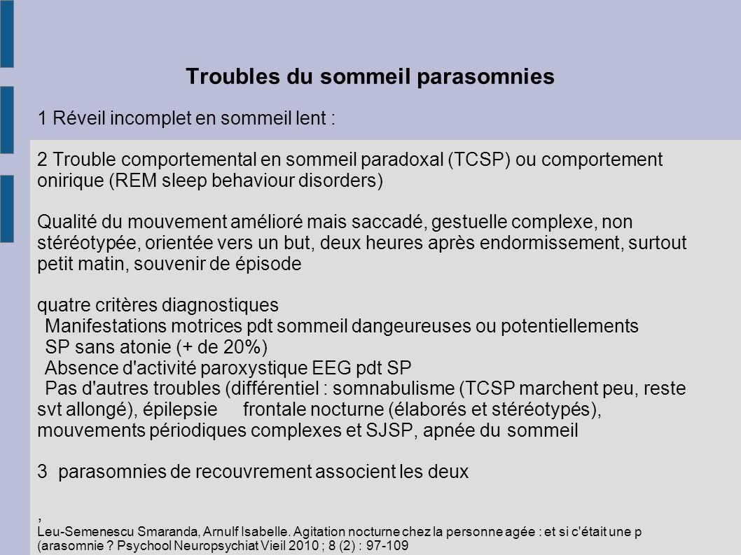 Troubles du sommeil parasomnies 1 Réveil incomplet en sommeil lent : 2 Trouble comportemental en sommeil paradoxal (TCSP) ou comportement onirique (RE