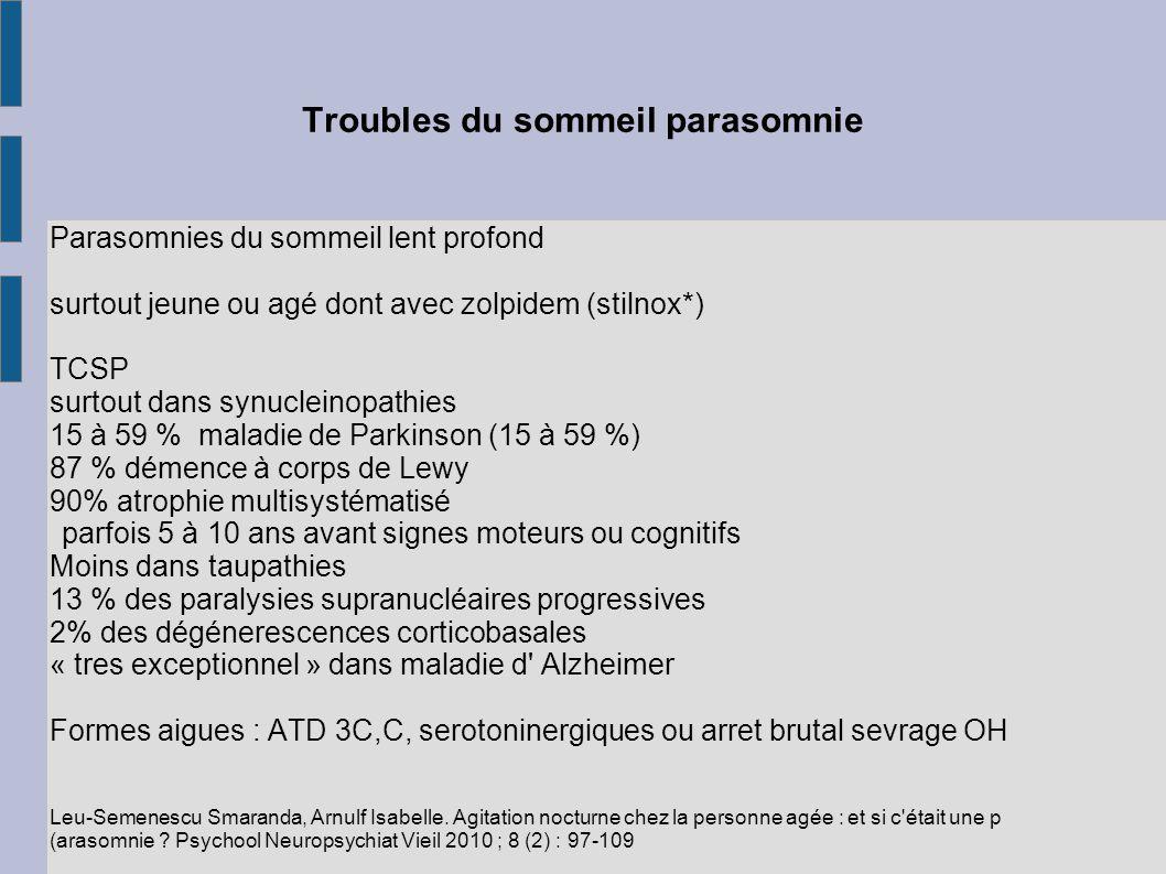 Troubles du sommeil parasomnie Parasomnies du sommeil lent profond surtout jeune ou agé dont avec zolpidem (stilnox*) TCSP surtout dans synucleinopath