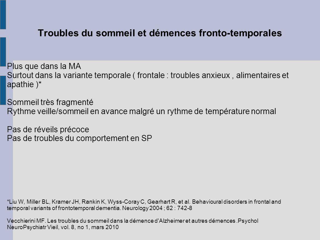 Troubles du sommeil et démences fronto-temporales Plus que dans la MA Surtout dans la variante temporale ( frontale : troubles anxieux, alimentaires e