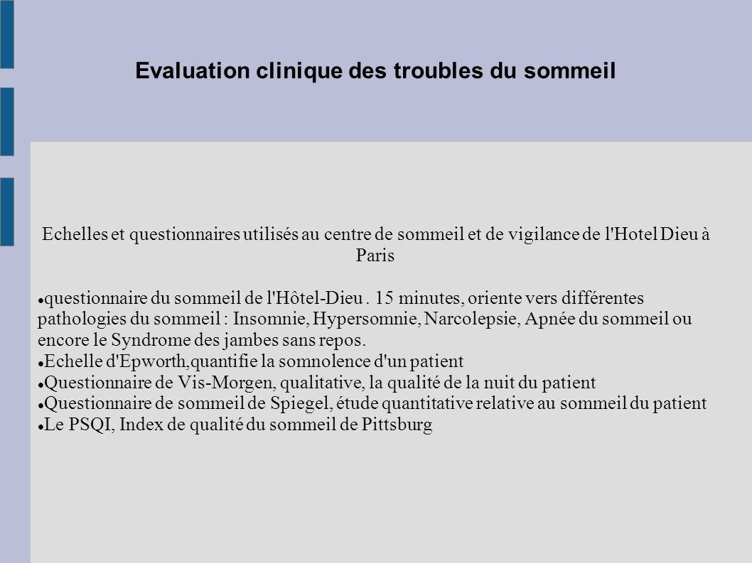 Evaluation clinique des troubles du sommeil Echelles et questionnaires utilisés au centre de sommeil et de vigilance de l'Hotel Dieu à Paris questionn