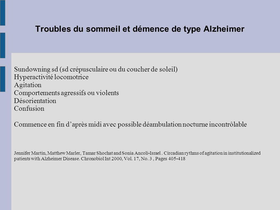 Troubles du sommeil et démence de type Alzheimer Sundowning sd (sd crépusculaire ou du coucher de soleil) Hyperactivité locomotrice Agitation Comporte
