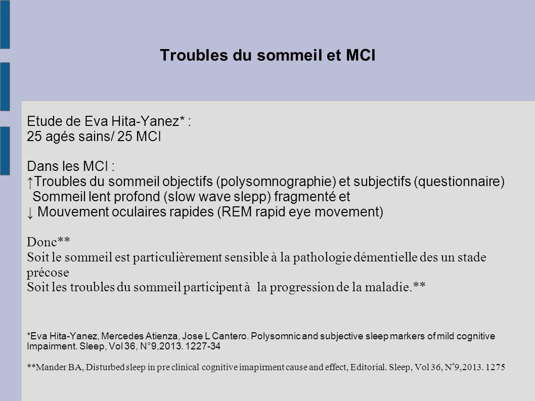 Troubles du sommeil et MCI Etude de Eva Hita-Yanez* : 25 agés sains/ 25 MCI Dans les MCI : ↑Troubles du sommeil objectifs (polysomnographie) et subjec