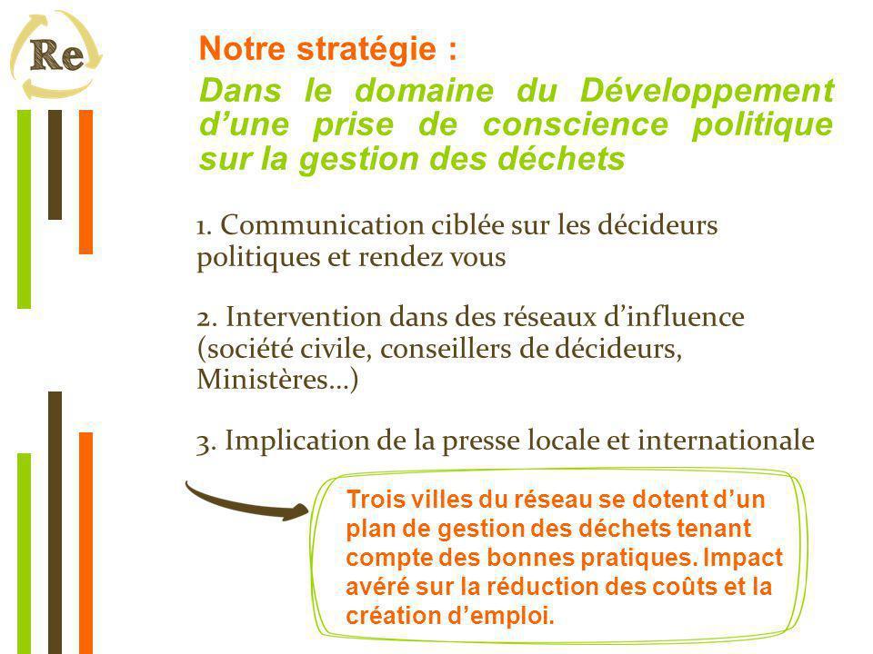 Notre stratégie : Dans le domaine du Développement d'une prise de conscience politique sur la gestion des déchets 1.