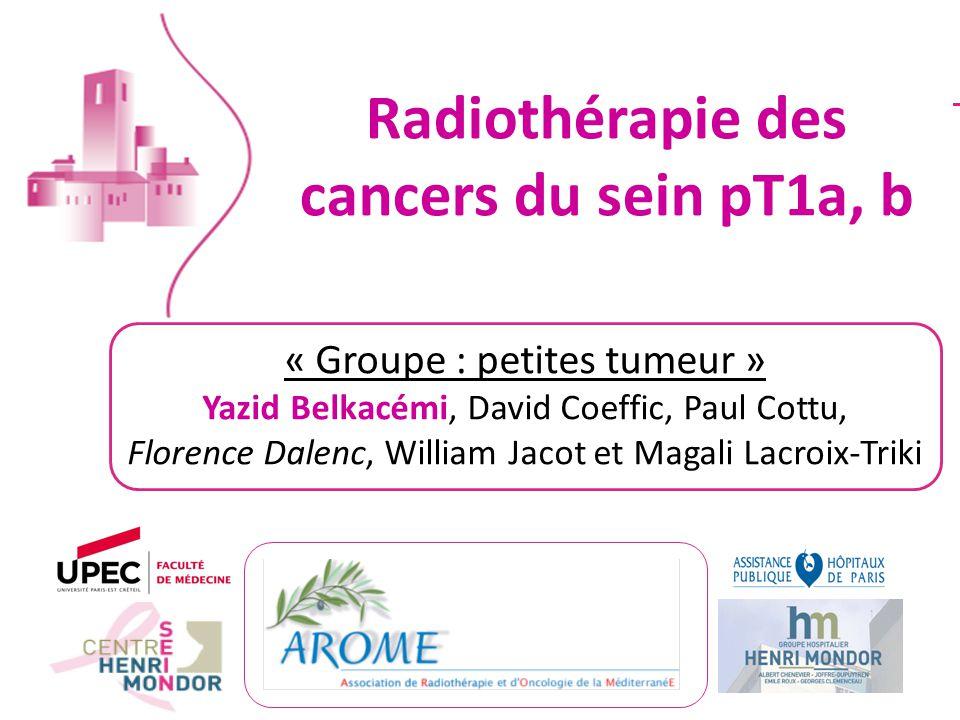 Radiothérapie des cancers du sein pT1a, b « Groupe : petites tumeur » Yazid Belkacémi, David Coeffic, Paul Cottu, Florence Dalenc, William Jacot et Ma