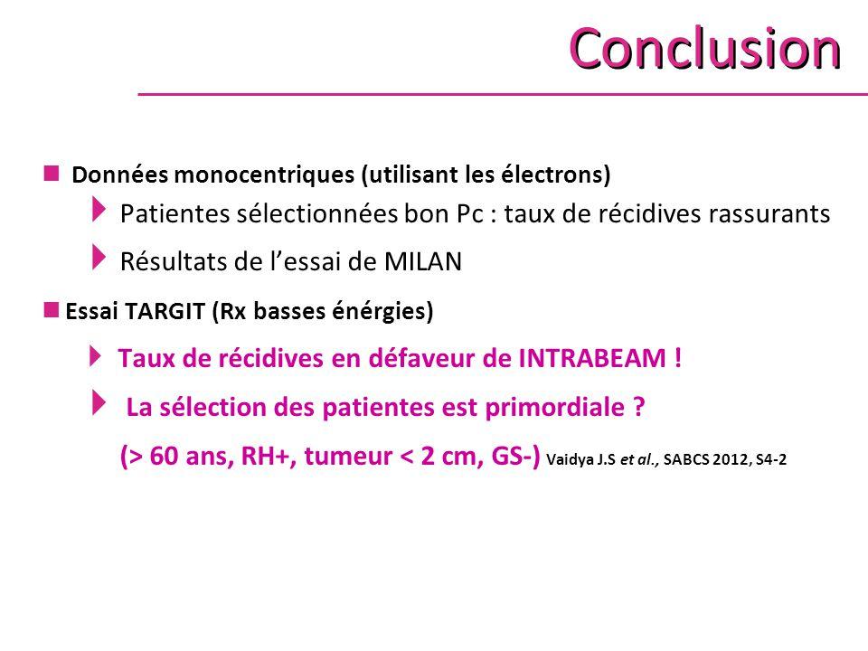 Conclusion Données monocentriques (utilisant les électrons)  Patientes sélectionnées bon Pc : taux de récidives rassurants  Résultats de l'essai de