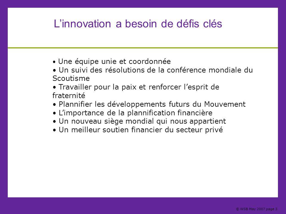 © WSB May 2007 page 3 L'innovation a besoin de défis clés Une équipe unie et coordonnée Un suivi des résolutions de la conférence mondiale du Scoutism