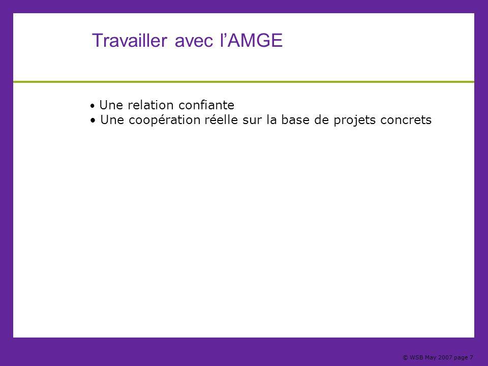 © WSB May 2007 page 7 Travailler avec l'AMGE Une relation confiante Une coopération réelle sur la base de projets concrets