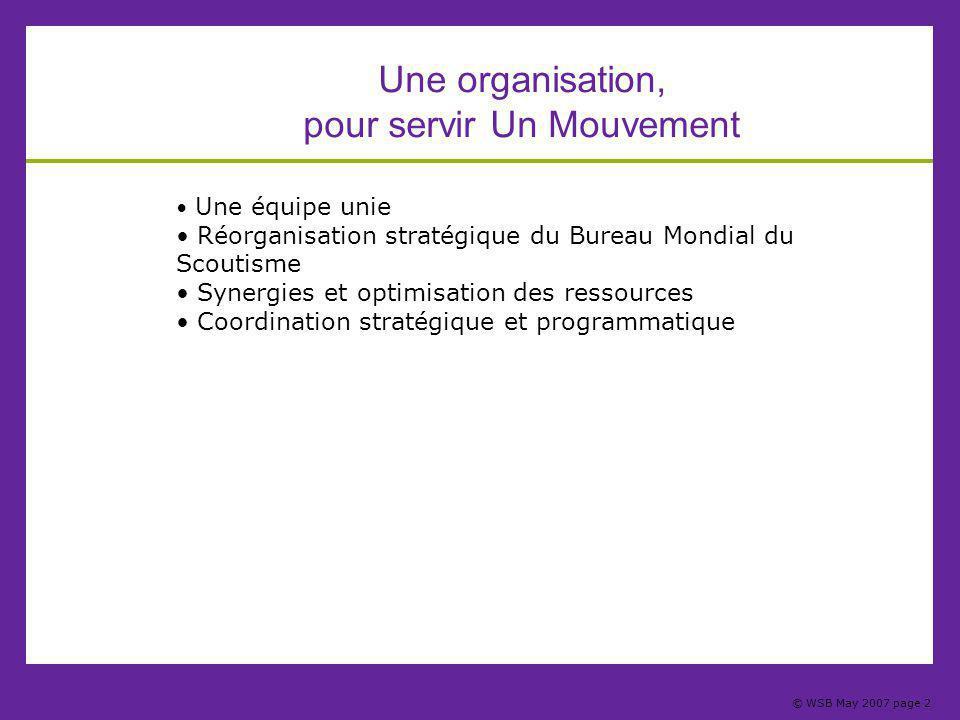 © WSB May 2007 page 2 Une organisation, pour servir Un Mouvement Une équipe unie Réorganisation stratégique du Bureau Mondial du Scoutisme Synergies et optimisation des ressources Coordination stratégique et programmatique