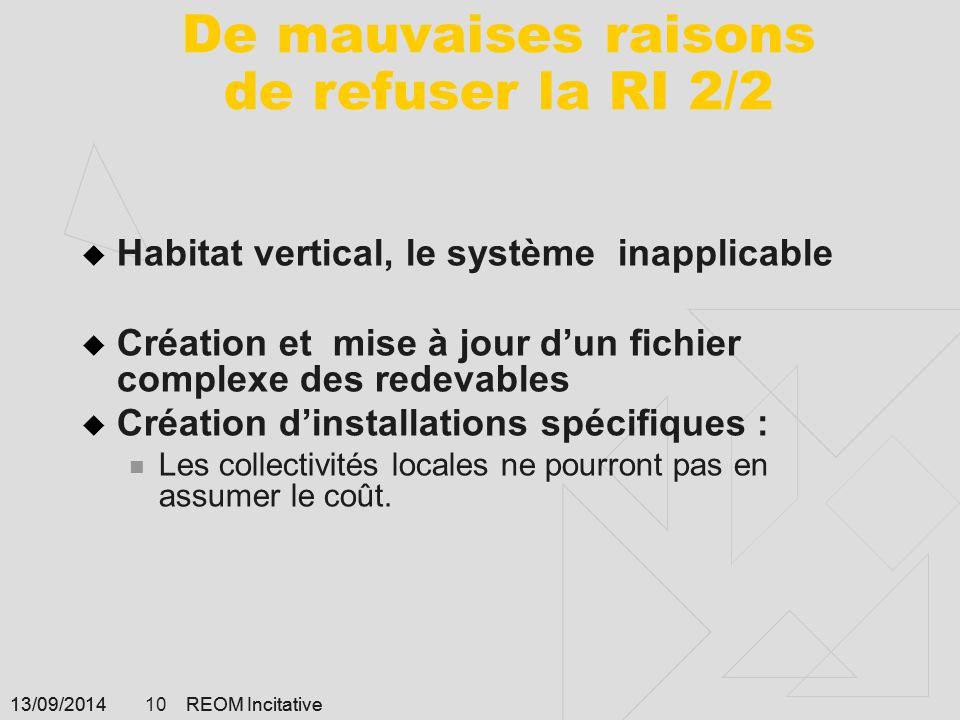 13/09/2014 REOM Incitative 10 13/09/2014 REOM Incitative 10 De mauvaises raisons de refuser la RI 2/2  Habitat vertical, le système inapplicable  Cr