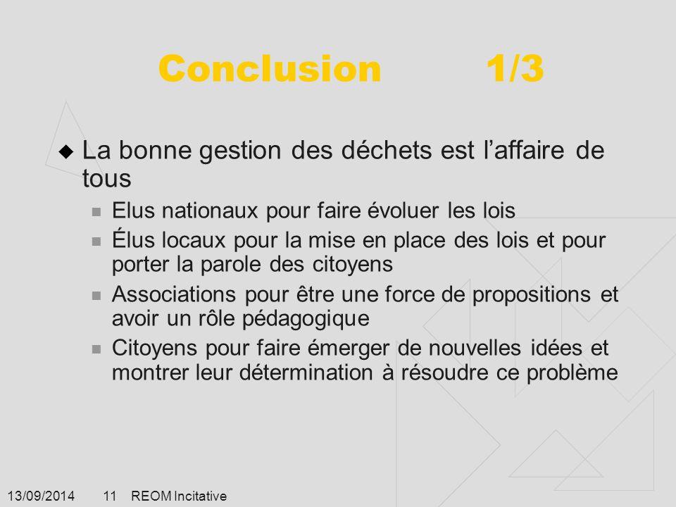 13/09/2014 REOM Incitative 11 Conclusion 1/3  La bonne gestion des déchets est l'affaire de tous Elus nationaux pour faire évoluer les lois Élus loca