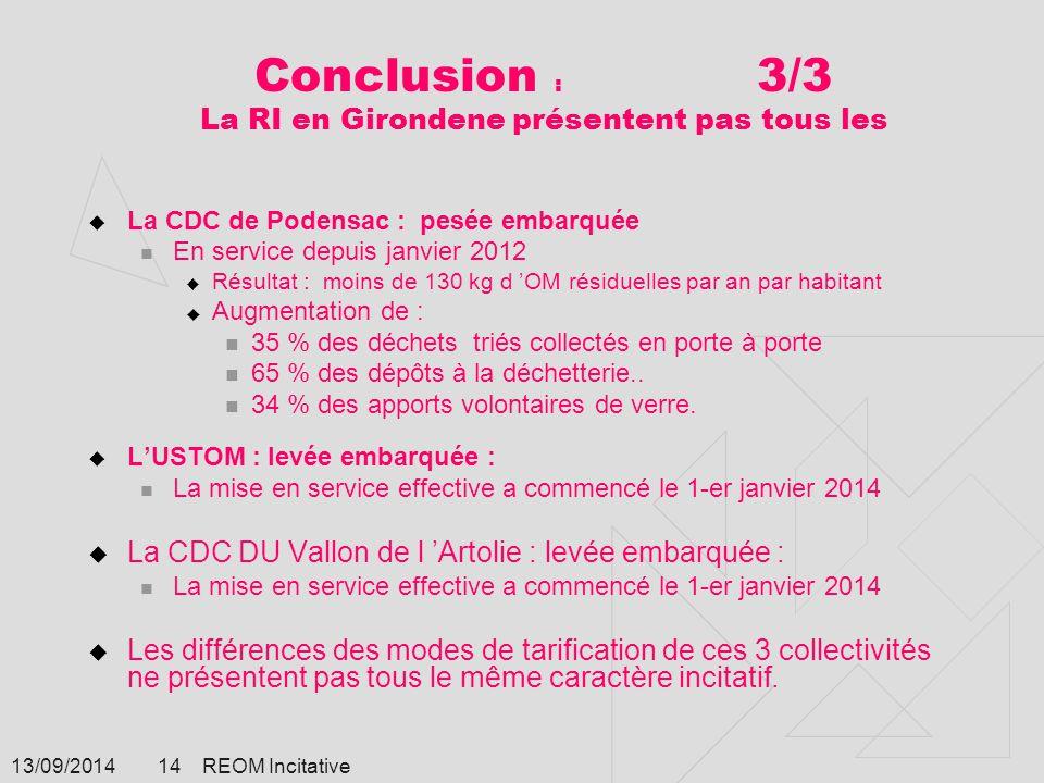 13/09/2014 REOM Incitative 14 Conclusion : 3/3 La RI en Girondene présentent pas tous les  La CDC de Podensac : pesée embarquée En service depuis jan