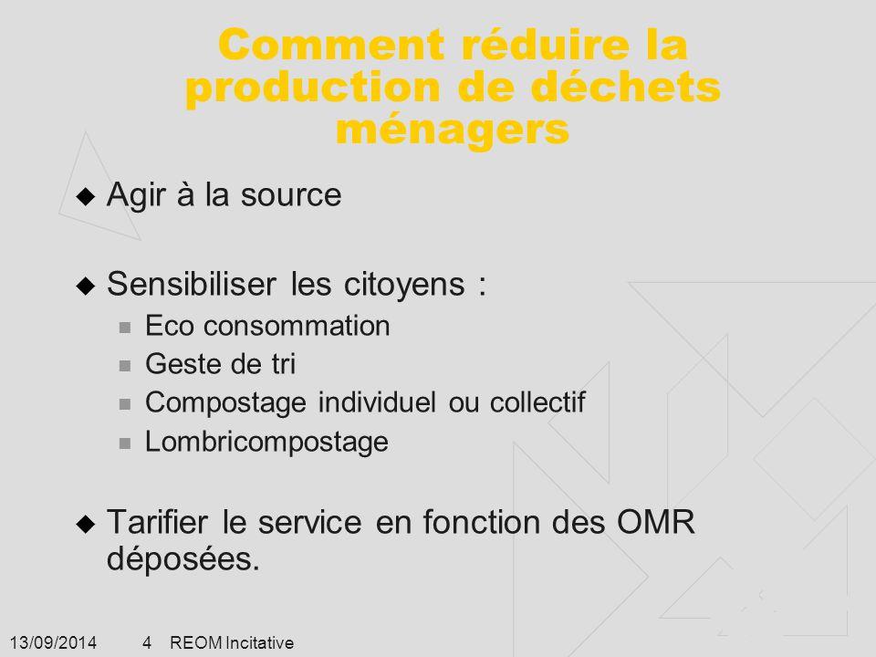 13/09/2014 REOM Incitative 4 Comment réduire la production de déchets ménagers  Agir à la source  Sensibiliser les citoyens : Eco consommation Geste