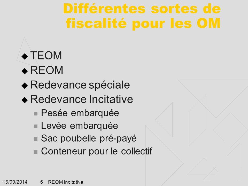 13/09/2014 REOM Incitative 6 Différentes sortes de fiscalité pour les OM  TEOM  REOM  Redevance spéciale  Redevance Incitative Pesée embarquée Lev