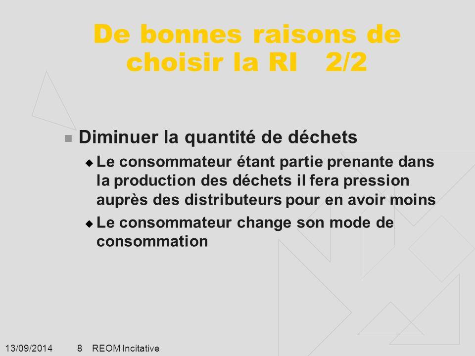 13/09/2014 REOM Incitative 8 De bonnes raisons de choisir la RI 2/2 Diminuer la quantité de déchets  Le consommateur étant partie prenante dans la pr