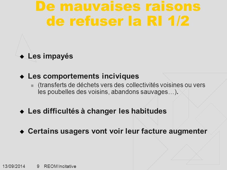 13/09/2014 REOM Incitative 9 De mauvaises raisons de refuser la RI 1/2  Les impayés  Les comportements inciviques (transferts de déchets vers des co