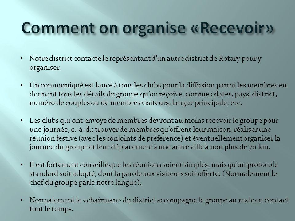 Notre district contacte le représentant d'un autre district de Rotary pour y organiser.