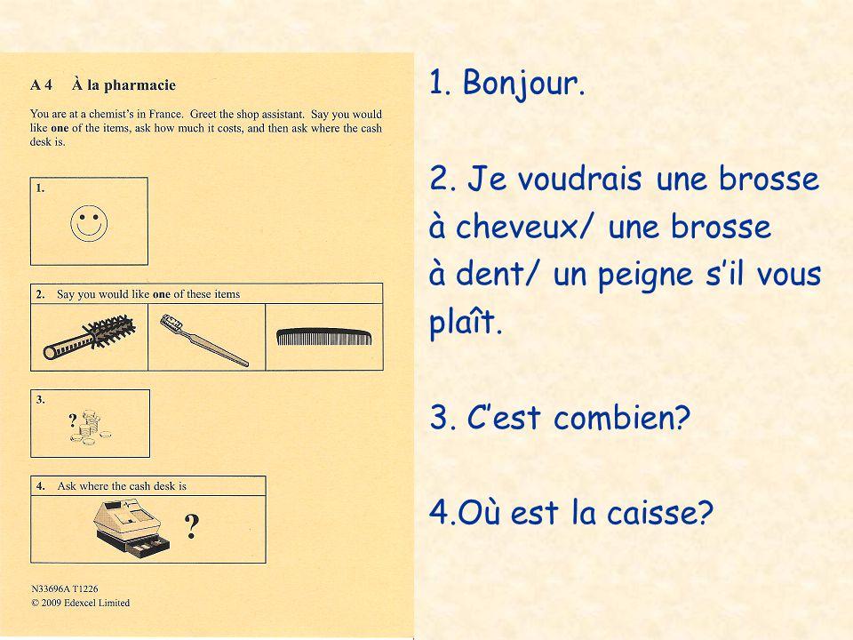 1.Je voudrais un billet en première / deuxième classe pour Paris.