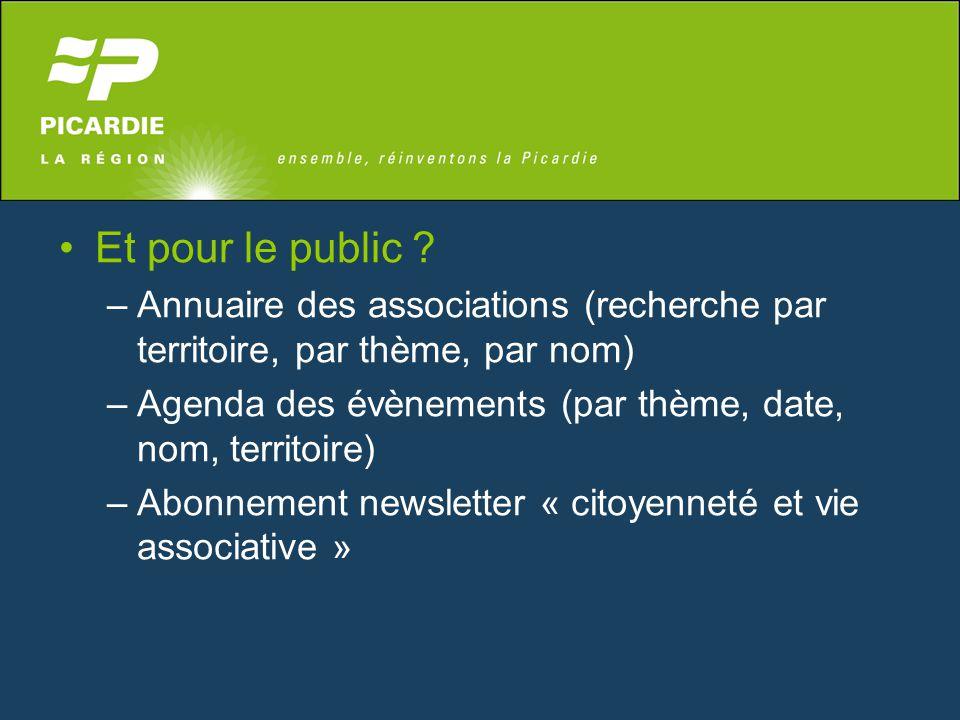 Et pour le public ? –Annuaire des associations (recherche par territoire, par thème, par nom) –Agenda des évènements (par thème, date, nom, territoire