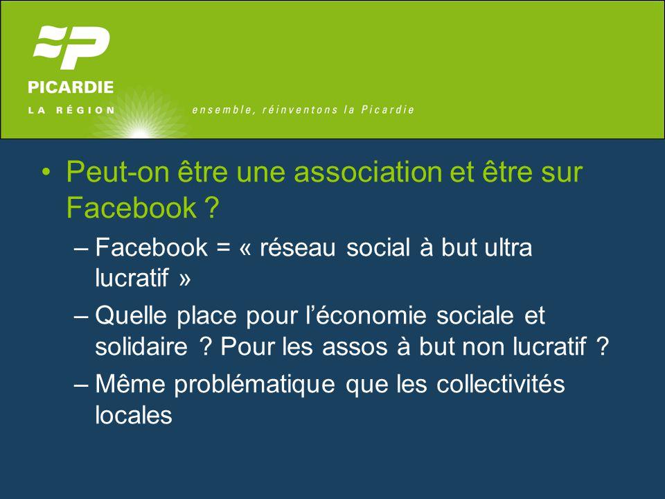 Peut-on être une association et être sur Facebook ? –Facebook = « réseau social à but ultra lucratif » –Quelle place pour l'économie sociale et solida