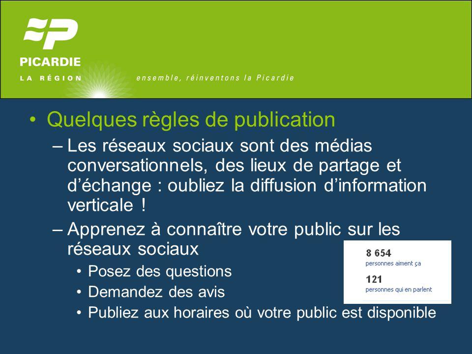 Quelques règles de publication –Les réseaux sociaux sont des médias conversationnels, des lieux de partage et d'échange : oubliez la diffusion d'infor
