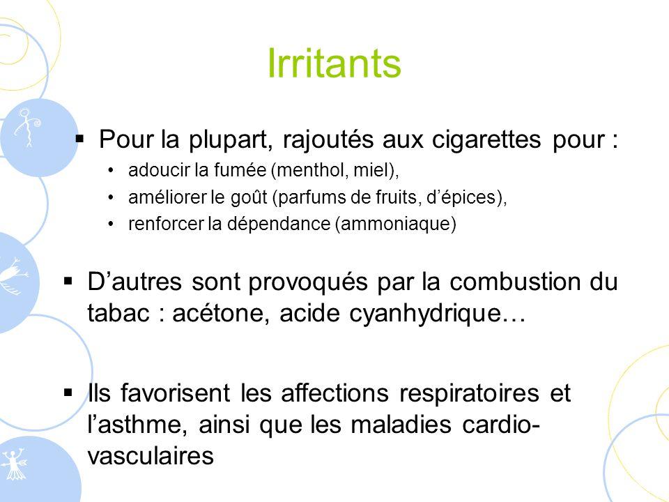 Irritants  D'autres sont provoqués par la combustion du tabac : acétone, acide cyanhydrique…  Ils favorisent les affections respiratoires et l'asthm