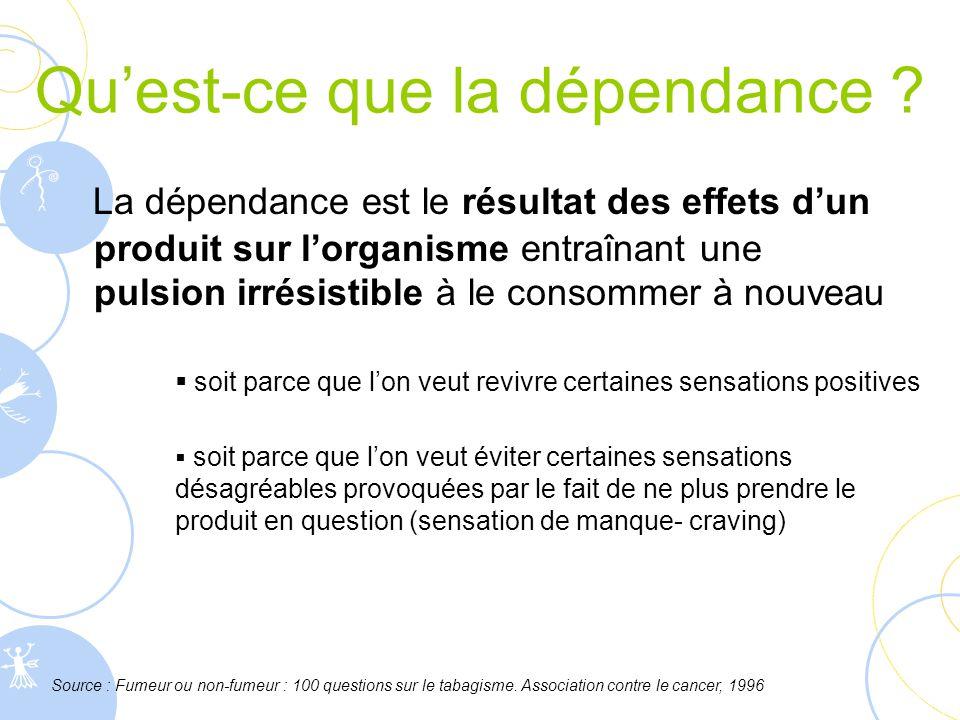 Qu'est-ce que la dépendance ? La dépendance est le résultat des effets d'un produit sur l'organisme entraînant une pulsion irrésistible à le consommer