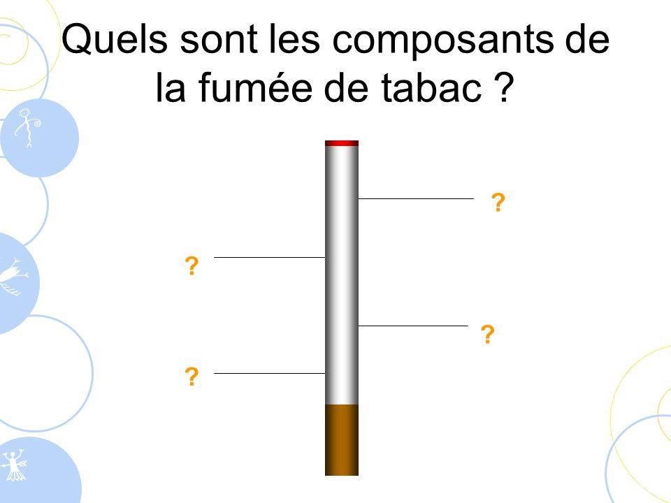 Quels sont les composants de la fumée de tabac ? ? ? ? ?
