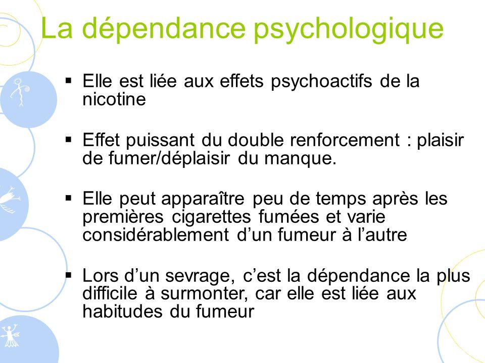 La dépendance psychologique  Elle est liée aux effets psychoactifs de la nicotine  Effet puissant du double renforcement : plaisir de fumer/déplaisi