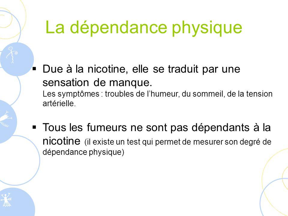 La dépendance physique  Due à la nicotine, elle se traduit par une sensation de manque. Les symptômes : troubles de l'humeur, du sommeil, de la tensi