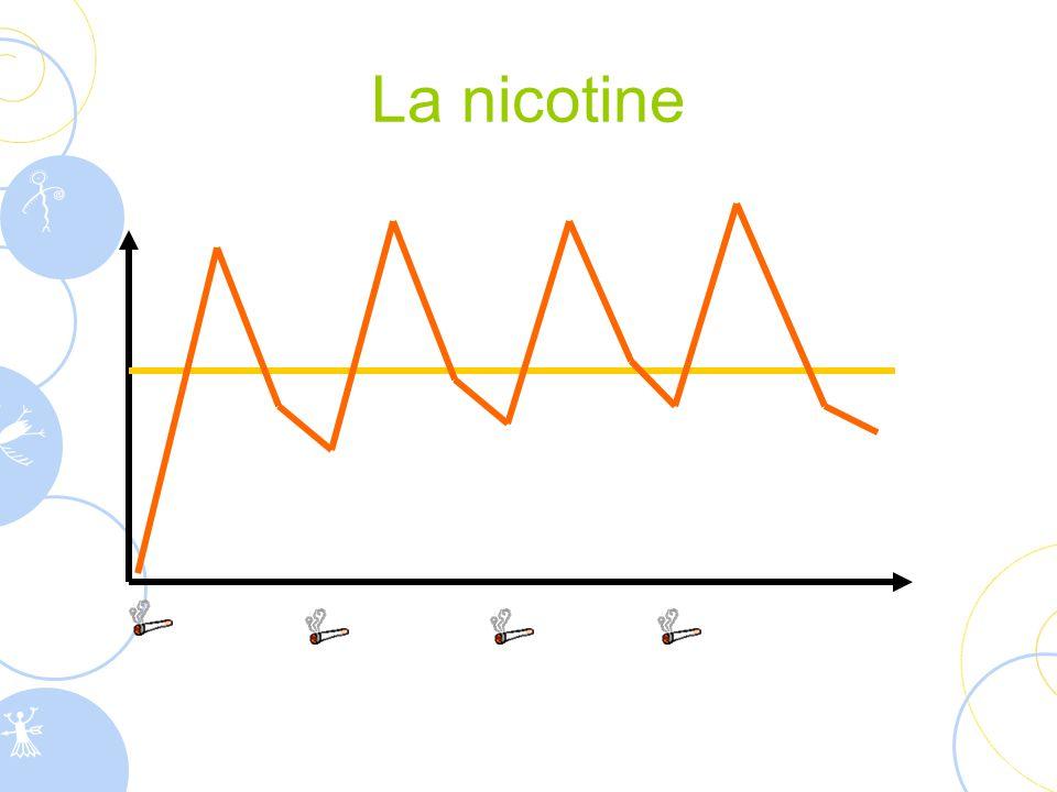  Est à l'origine de la dépendance physique  Augmente le rythme cardiaque  Augmente les dépenses énergétiques Chez certaines personnes, elle peut avoir les effets suivants :  action anxiolytique  action antidépressive  effet coupe-faim  sensation de plaisir  détente  stimulation intellectuelle La nicotine