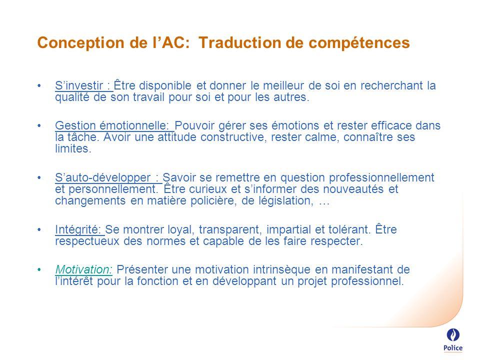 Conception de l'AC: Traduction de compétences S'investir : Être disponible et donner le meilleur de soi en recherchant la qualité de son travail pour soi et pour les autres.