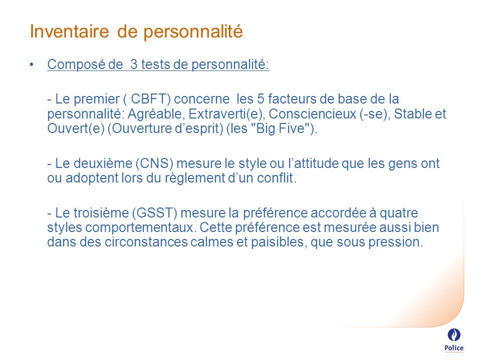 Inventaire de personnalité Composé de 3 tests de personnalité: - Le premier ( CBFT) concerne les 5 facteurs de base de la personnalité: Agréable, Extraverti(e), Consciencieux (-se), Stable et Ouvert(e) (Ouverture d'esprit) (les Big Five ).