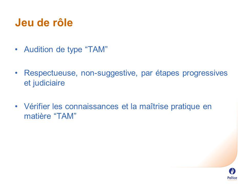 Jeu de rôle Audition de type TAM Respectueuse, non-suggestive, par étapes progressives et judiciaire Vérifier les connaissances et la maîtrise pratique en matière TAM
