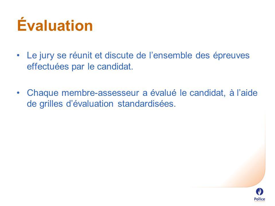 Évaluation Le jury se réunit et discute de l'ensemble des épreuves effectuées par le candidat.