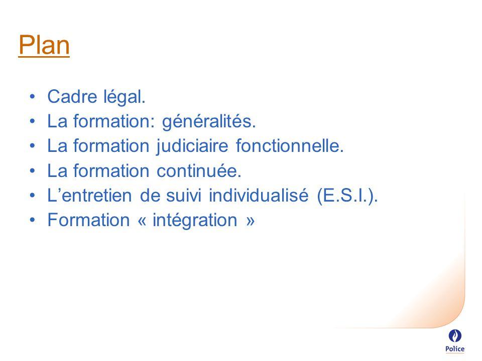 Plan Cadre légal. La formation: généralités. La formation judiciaire fonctionnelle.