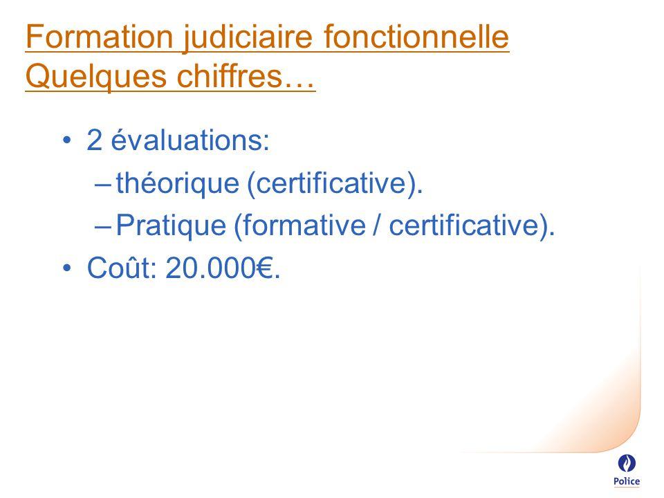 Formation judiciaire fonctionnelle Quelques chiffres… 2 évaluations: –théorique (certificative).