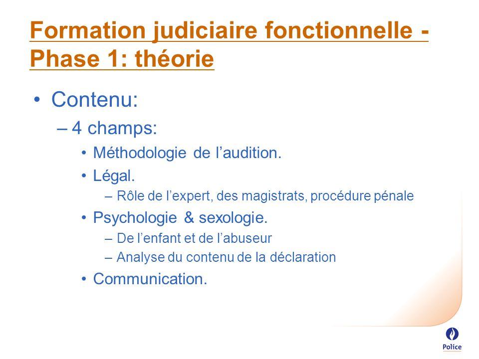 Formation judiciaire fonctionnelle - Phase 1: théorie Contenu: –4 champs: Méthodologie de l'audition.