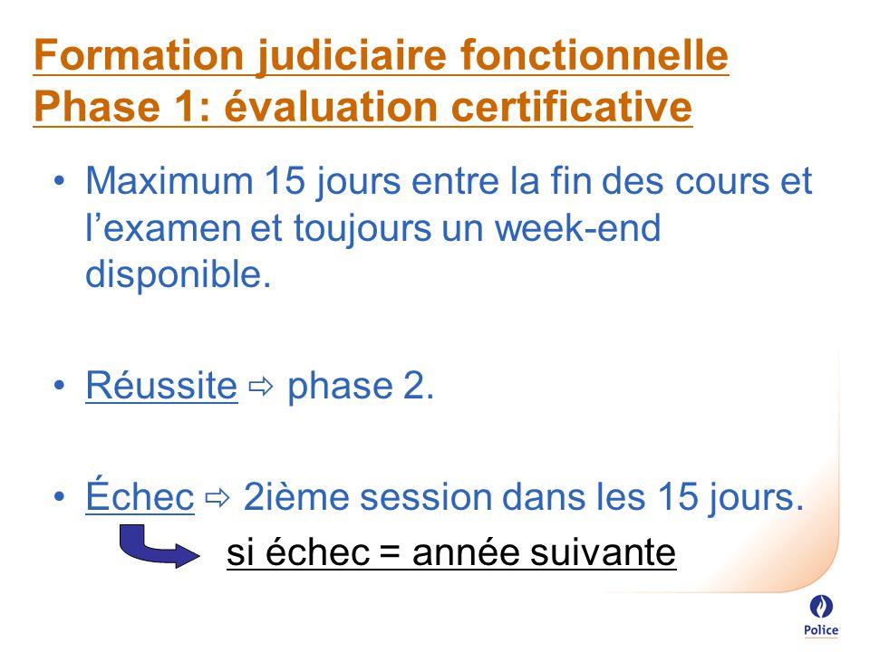 Formation judiciaire fonctionnelle Phase 1: évaluation certificative Maximum 15 jours entre la fin des cours et l'examen et toujours un week-end disponible.