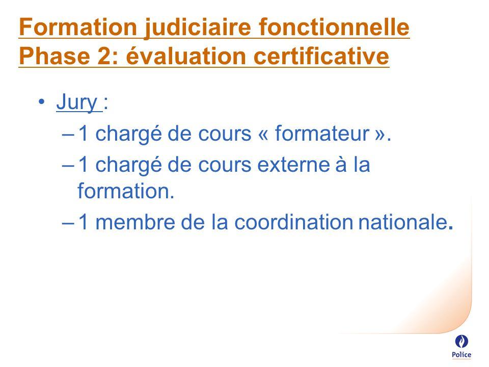 Formation judiciaire fonctionnelle Phase 2: évaluation certificative Jury : –1 chargé de cours « formateur ».