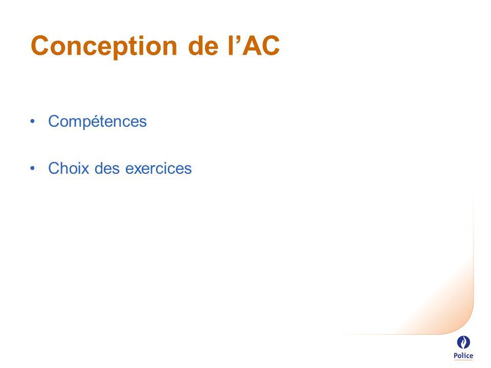 Conception de l'AC Compétences Choix des exercices
