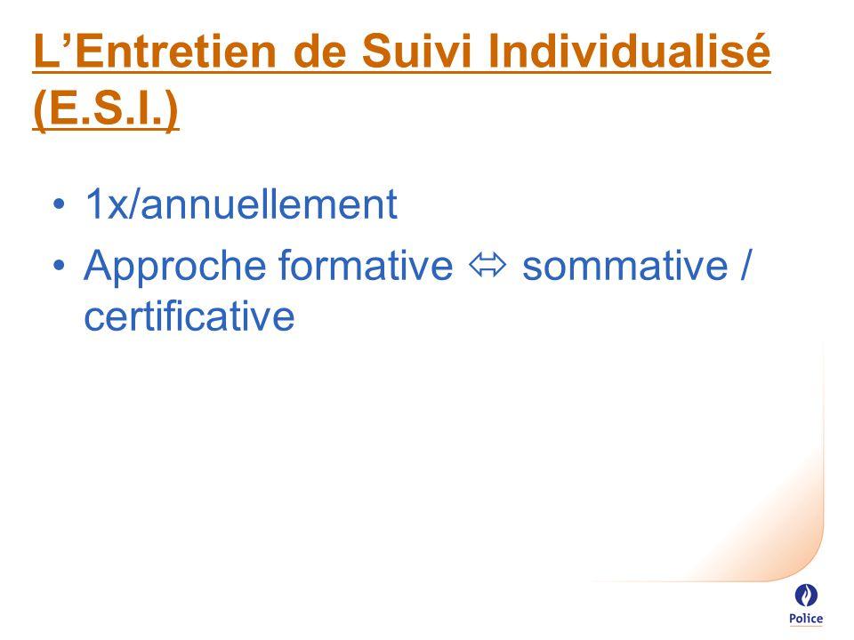 1x/annuellement Approche formative  sommative / certificative L'Entretien de Suivi Individualisé (E.S.I.)