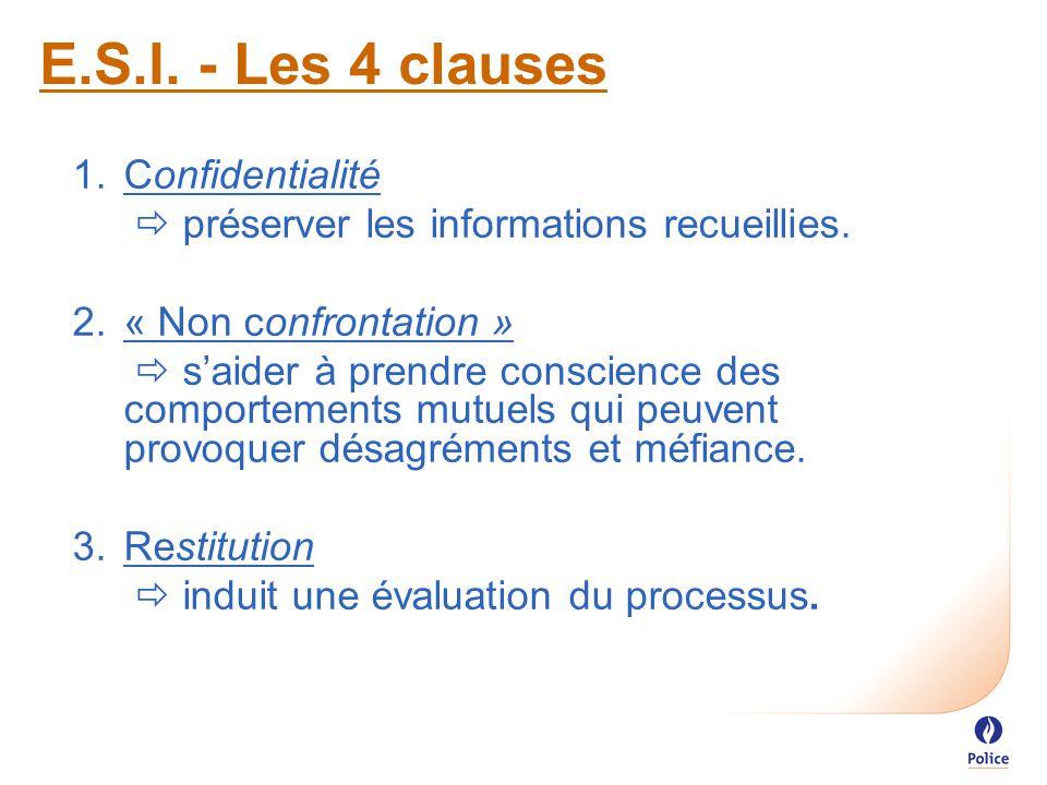 E.S.I. - Les 4 clauses 1.Confidentialité  préserver les informations recueillies.