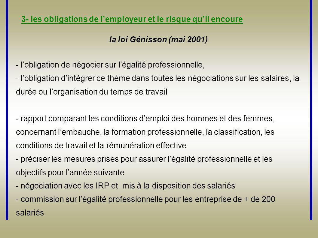 la loi Génisson (mai 2001) - l'obligation de négocier sur l'égalité professionnelle, - l'obligation d'intégrer ce thème dans toutes les négociations s