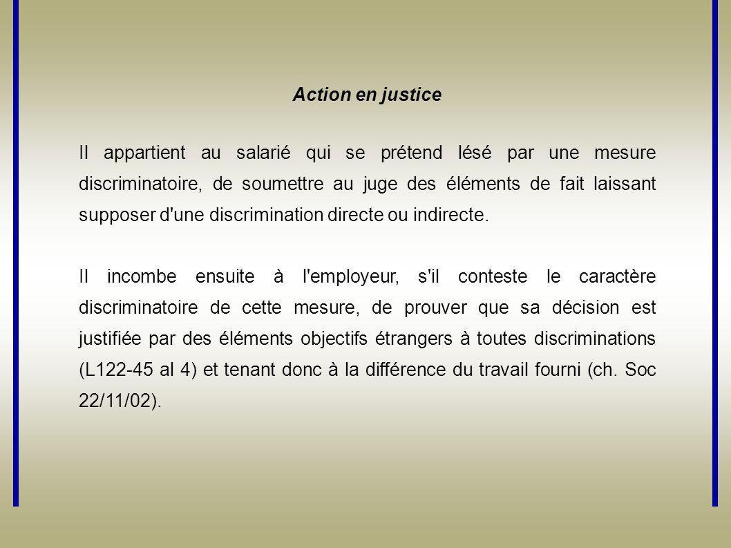 Action en justice Il appartient au salarié qui se prétend lésé par une mesure discriminatoire, de soumettre au juge des éléments de fait laissant supp