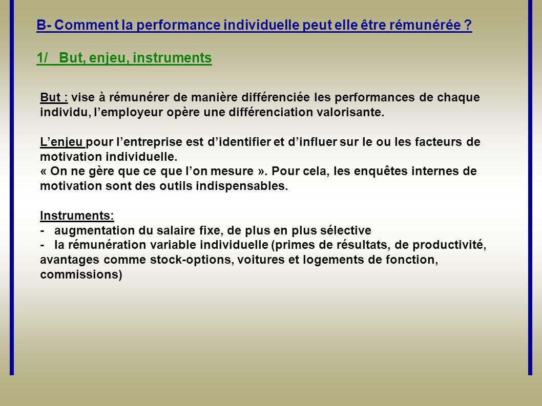 B- Comment la performance individuelle peut elle être rémunérée ? 1/ But, enjeu, instruments But : vise à rémunérer de manière différenciée les perfor