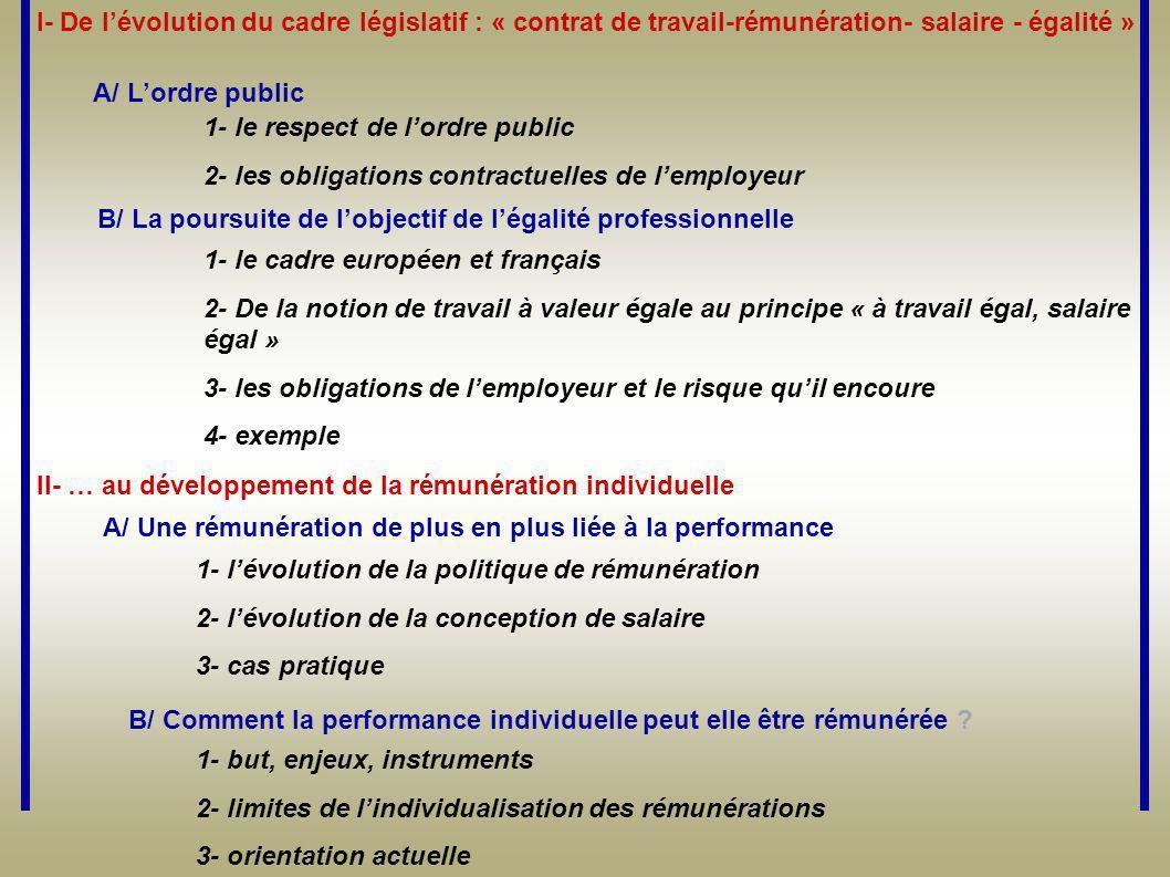I- De l'évolution du cadre législatif : « contrat de travail-rémunération- salaire - égalité » A/ L'ordre public 1- le respect de l'ordre public 2- le