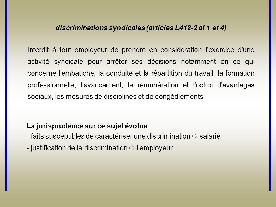 discriminations syndicales (articles L412-2 al 1 et 4) Interdit à tout employeur de prendre en considération l'exercice d'une activité syndicale pour