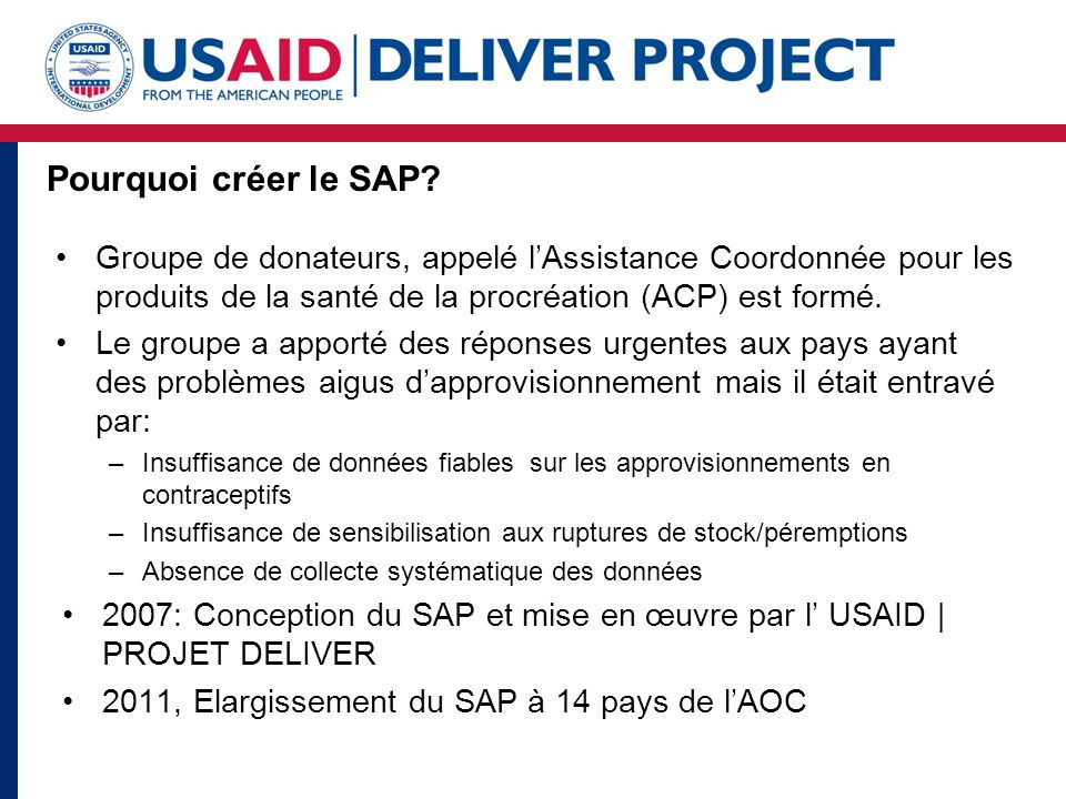 Pourquoi créer le SAP.